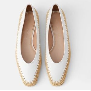 NWT ZARA WOMEN'S NATURAL COLORED CONTRASTING FLATS